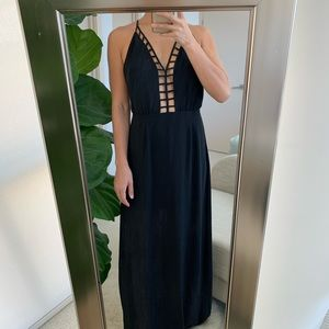 Forever 21 Black Backless Maxi Dress S